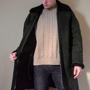Genuine Shearling Olive Green Wool Suede Coat